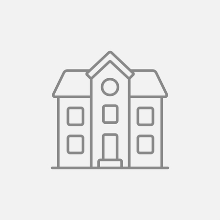 housing project: Two storey detached house line icon for web, mobile and infographics. Vector dark grey icon isolated on light grey background. Illustration