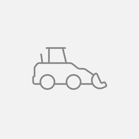 dig up: Excavator line icon for web, mobile and infographics. Vector dark grey icon isolated on light grey background. Illustration