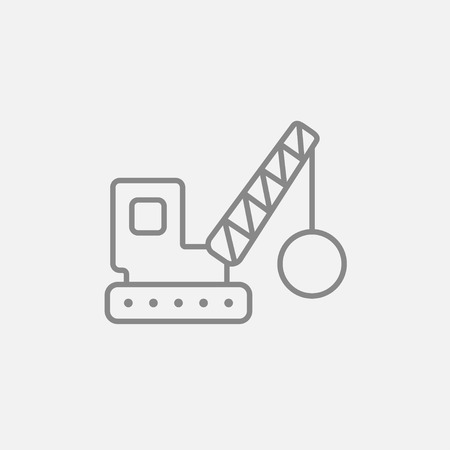 dismantling: Demolition trailer line icon for web, mobile and infographics. Vector dark grey icon isolated on light grey background.