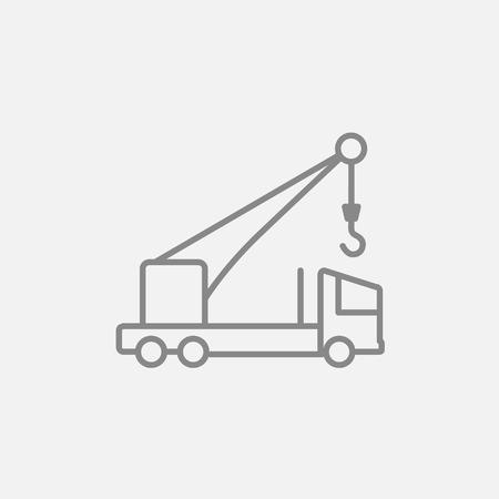 Mobiele kraan lijn pictogram voor web, mobiel en infographics. Vector donker grijs pictogram op een lichtgrijze achtergrond. Stock Illustratie