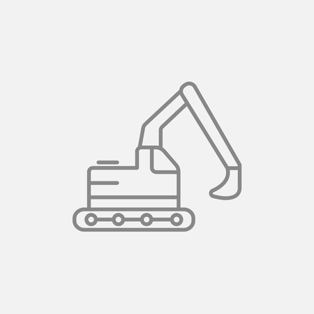 Excavator line icon for web, mobile and infographics. Vector dark grey icon isolated on light grey background. Illustration