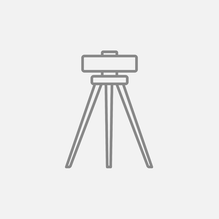 levelling: Theodolite on tripod line icon for web, mobile and infographics. Vector dark grey icon isolated on light grey background. Illustration