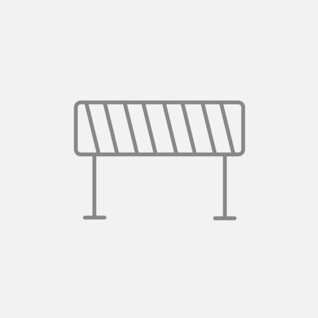building site: Road barrier line icon for web, mobile and infographics. Vector dark grey icon isolated on light grey background.