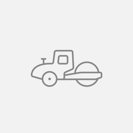 rollover: Road roller line icon for web, mobile and infographics. Vector dark grey icon isolated on light grey background. Illustration