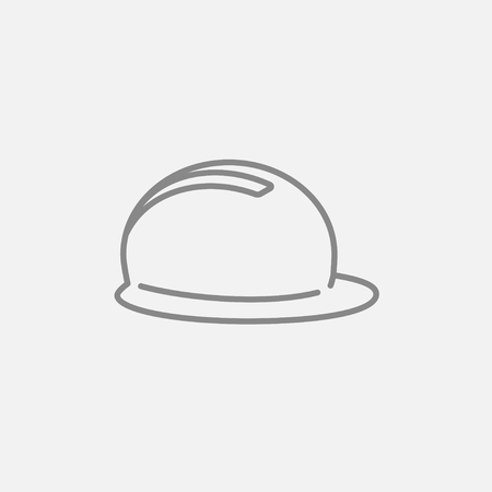 hard: Hard hat line icon for web, mobile and infographics. Vector dark grey icon isolated on light grey background.