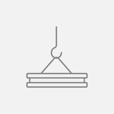 Crane hook holding concrete slab line icon for web, mobile and infographics. Vector dark grey icon isolated on light grey background.