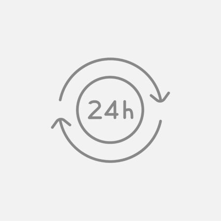 hrs: Service 24 hrs line icon for web, mobile and infographics. Vector dark grey icon isolated on light grey background.