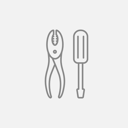 Screwdriver with pliers line icon for web, mobile and infographics. Vector dark grey icon isolated on light grey background.
