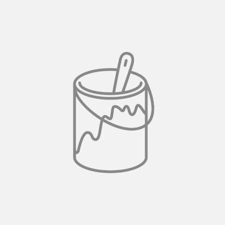 paint can: Paint brush in the paint tin line icon for web, mobile and infographics. Vector dark grey icon isolated on light grey background. Illustration