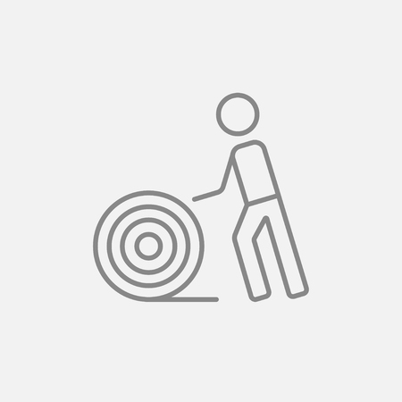 cabling: Man with wire spool line icon for web, mobile and infographics. Vector dark grey icon isolated on light grey background. Illustration