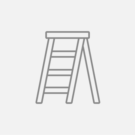 stepladder: Stepladder line icon for web, mobile and infographics. Vector dark grey icon isolated on light grey background.
