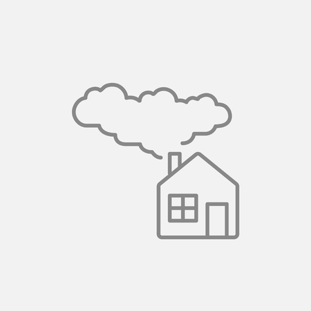 save nature: House with a chimney and smoke line icon for web, mobile and infographics. Vector dark grey icon isolated on light grey background. Illustration