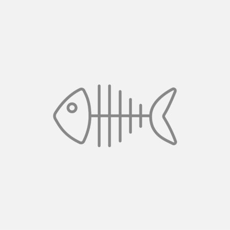 skeleton of fish: Fish skeleton line icon for web, mobile and infographics. Vector dark grey icon isolated on light grey background.