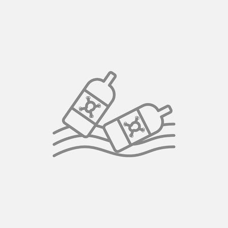 Web、モバイル、インフォ グラフィックのウォーター ライン アイコンに浮かんでいるボトル。ベクトル暗い灰色アイコン ライトグレーの背景に分離