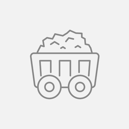 Mining coal cart line icon for web, mobile and infographics. Vector dark grey icon isolated on light grey background.