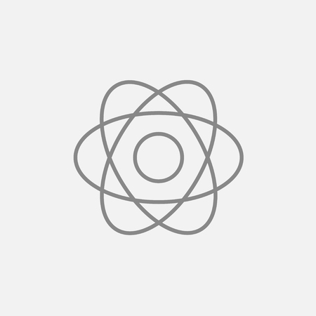 Atom line icon for web, mobile and infographics. Vector dark grey icon isolated on light grey background.