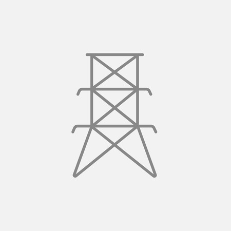 Electric tower line icon for web, mobile and infographics. Vector dark grey icon isolated on light grey background.