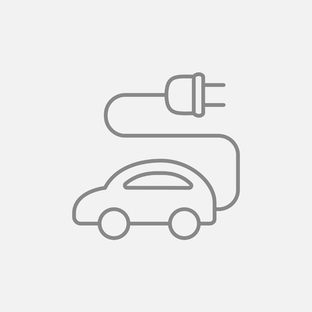clean energy: Electric car line icon for web, mobile and infographics. Vector dark grey icon isolated on light grey background.