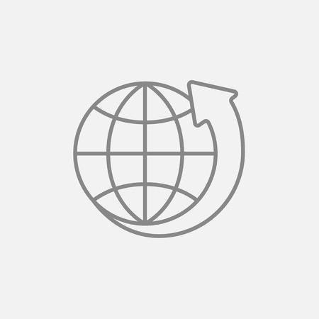 地球と web、モバイル、インフォ グラフィックの線アイコンの周りの矢印。ベクトル暗い灰色アイコン ライトグレーの背景に分離されました。