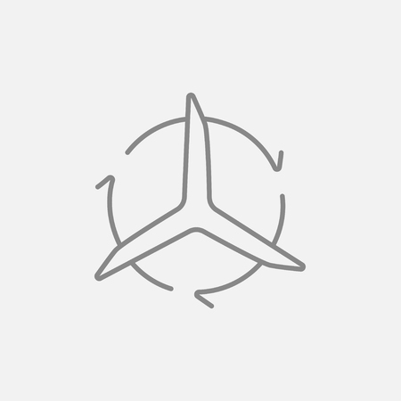 spinning windmill: Windmill with arrows line icon for web, mobile and infographics. Vector dark grey icon isolated on light grey background. Illustration