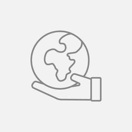 environment friendly: Hand holding the Earth line icon for web, mobile and infographics. Vector dark grey icon isolated on light grey background.