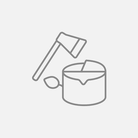 logging: Deforestation line icon for web, mobile and infographics. Vector dark grey icon isolated on light grey background. Illustration