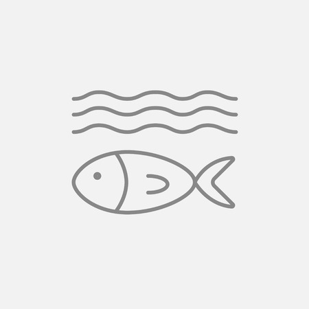 poisoned: Fish under water line icon for web, mobile and infographics. Vector dark grey icon isolated on light grey background. Illustration