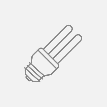 bombillo ahorrador: Energy saving light bulb line icon for web, mobile and infographics. Vector dark grey icon isolated on light grey background.
