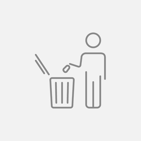 Man throwing garbage in a bin line icon for web, mobile and infographics. Vector dark grey icon isolated on light grey background. Illustration