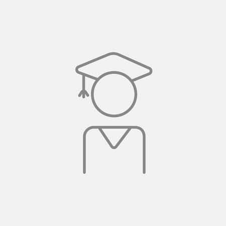 Web、モバイル、インフォ グラフィックの大学院行アイコン。ベクトル暗い灰色アイコン ライトグレーの背景に分離されました。