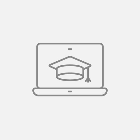 Laptop with graduation cap on a screen line icon for web, mobile and infographics. Vector dark grey icon isolated on light grey background.