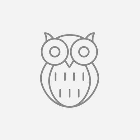 Owl line icon for web, mobile and infographics. Vector dark grey icon isolated on light grey background. 向量圖像