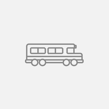 schoolbus: School bus line icon for web, mobile and infographics. Vector dark grey icon isolated on light grey background.