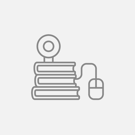 elearn: Computer mouse connected to a stack of books with webcam on it line icon for web, mobile and infographics. Vector dark grey icon isolated on light grey background. Illustration