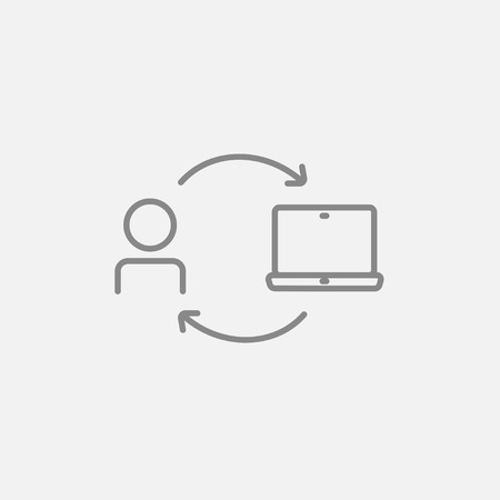 mise en relation: Arrows linking man and laptop line icon for web, mobile and infographics. Vector dark grey icon isolated on light grey background.