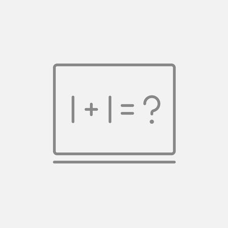 for example: Maths example written on blackboard line icon for web, mobile and infographics. Vector dark grey icon isolated on light grey background. Illustration