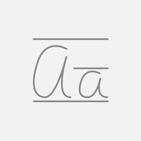 lexicon: Cursive letter a line icon for web, mobile and infographics. Vector dark grey icon isolated on light grey background.
