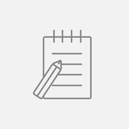 writing pad: Writing pad and pen line icon for web, mobile and infographics. Vector dark grey icon isolated on light grey background. Illustration