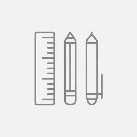 grey line: School supplies line icon for web, mobile and infographics. Vector dark grey icon isolated on light grey background.
