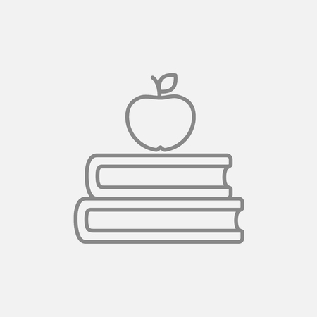 classbook: Books and apple on the top line icon for web, mobile and infographics. Vector dark grey icon isolated on light grey background. Illustration