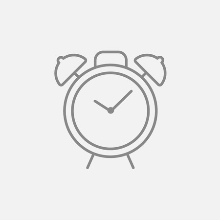 Alarm clock line icon for web, mobile and infographics. Vector dark grey icon isolated on light grey background.