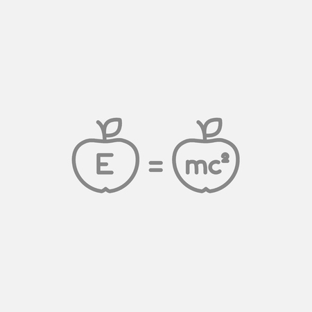 mc2: Two apples with formulae line icon for web, mobile and infographics. Vector dark grey icon isolated on light grey background. Illustration