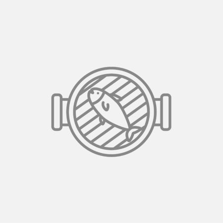 grilled: Grilled fish on the grill line icon for web, mobile and infographics. Vector dark grey icon isolated on light grey background.