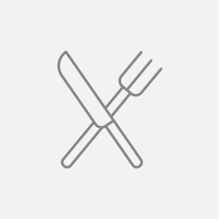 minimal: Crossed  knife and fork line icon for web, mobile and infographics. Vector dark grey icon isolated on light grey background.