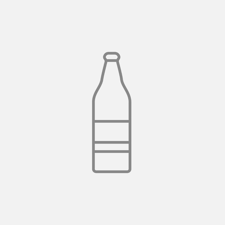 brandy: Glass bottle line icon for web, mobile and infographics. Vector dark grey icon isolated on light grey background.
