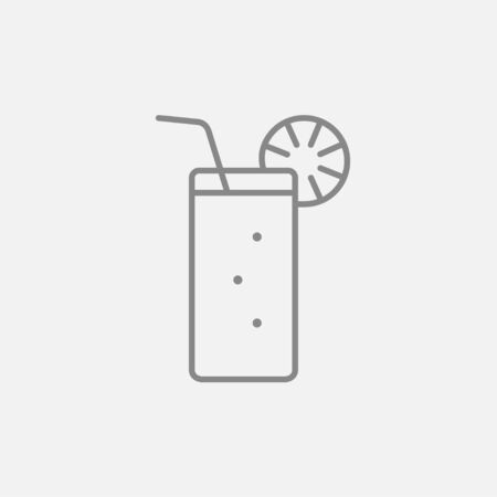 Glass with drinking straw line icon for web, mobile and infographics. Vector dark grey icon isolated on light grey background.