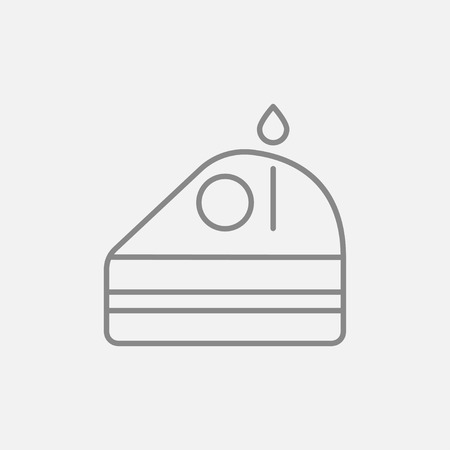 Slice of cake with candle line icon for web, mobile and infographics. Vector dark grey icon isolated on light grey background. 向量圖像