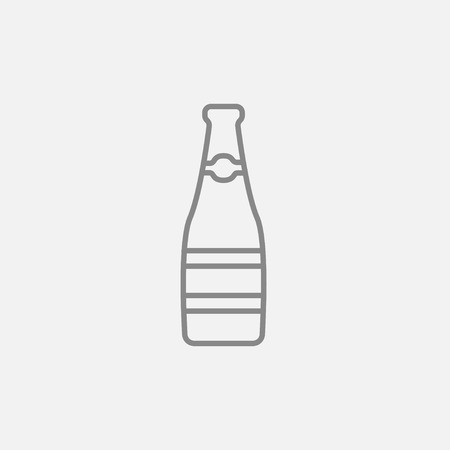Glass bottle line icon for web, mobile and infographics. Vector dark grey icon isolated on light grey background.