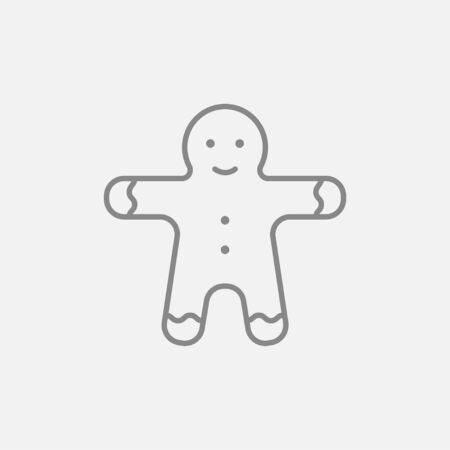 Gingerbread man line icon for web, mobile and infographics. Vector dark grey icon isolated on light grey background.