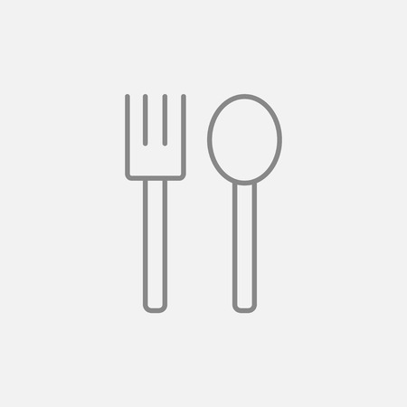 meat chopper: Spoon and fork line icon for web, mobile and infographics. Vector dark grey icon isolated on light grey background. Illustration